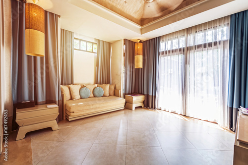 Living Room In Tropical Villa Hotel Big Windows Glass Doors And Garden Outside Buy This Stock Photo And Explore Similar Images At Adobe Stock Adobe Stock