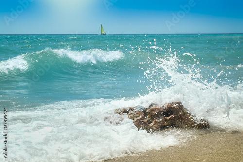 Olas rompientes en  la playa Canvas Print