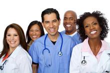 Friendly Hispanic Nurse Or Doctor Smiling.