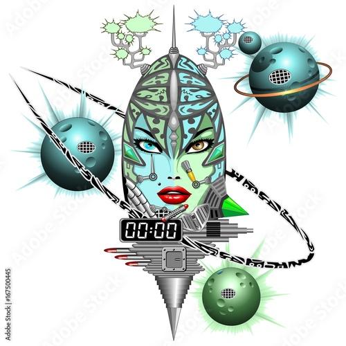 Foto op Aluminium Draw Girl Cyber Fantasy Robot