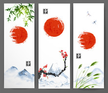 Banners With Red Sun, Mountain...