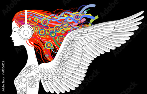Fotografija  Linear drawing of girl head half-face with wings, color loose hair and head-phon