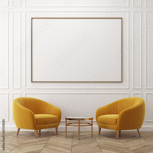 White living room, yellow armchairs, poster