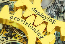 Deploying Provisioning Concept On The Gears, 3D Rendering
