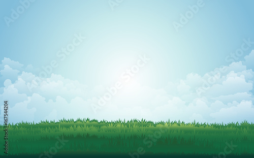 Deurstickers Lichtblauw Summer green meadow and mountain peaks landscape with sunset. vector illustration