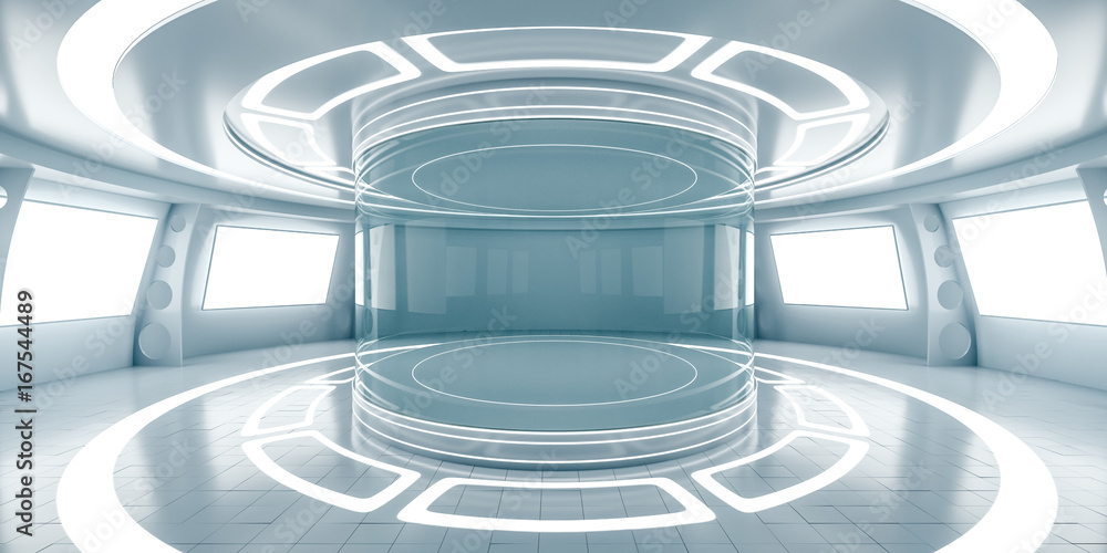 Fototapety, obrazy: Abstract futuristic interior with glowing panels