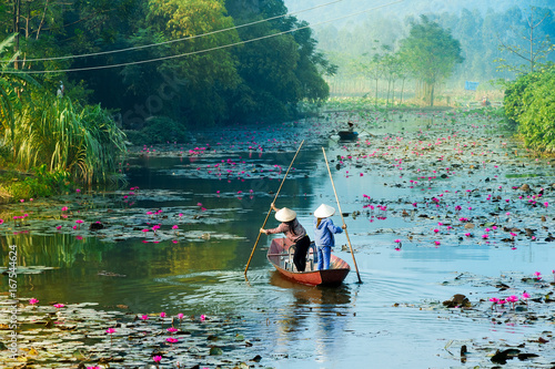 Fotografie, Obraz  Yen stream on the way to Huong pagoda in autumn, Hanoi, Vietnam