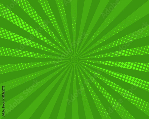 Green pop art comic background, vector illustration. Burst, halftone pattern texture, abstract dots wallpaper.