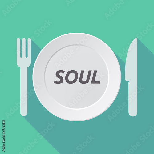 Long shadow tableware with    the text SOUL Poster