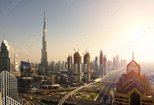 Fototapeta Podniesiony widok centrum Dubaju