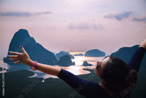 Foto auf Gartenposter Rosa hell Asian women travel sleep relax. archipelago Andaman sea Morning atmosphere Sun rises. Asia Thailand