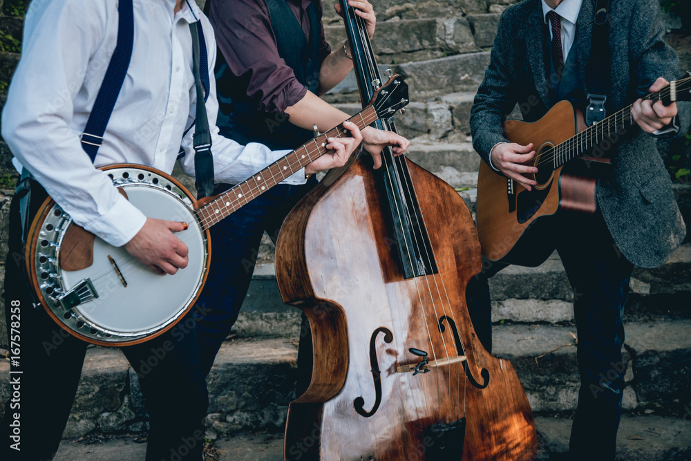 Fototapety, obrazy: Trio of musicians with a guitar, banjo and contrabass