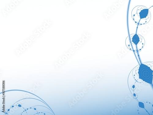 blue and white abstract fractal art with curves and decorative