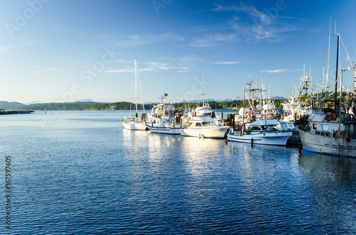 Fishing Boats in Harbour in Campbell River, BC, at Sunset
