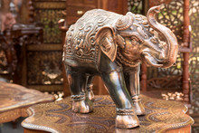 Day Of India. Moscow On August 12, 2017. Indian Elephant Figurine