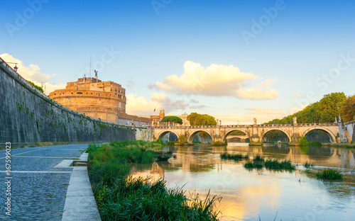 Staande foto Rome Castel Sant'Angelo in Rome during sunset, Italy