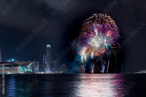 Photo  Fireworks at Victoria harbor of Hong Kong