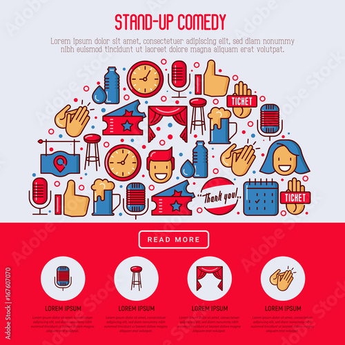 stand up comedy show concept in half circle with thin line icons