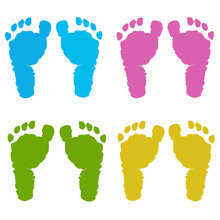 Colorful Baby Foot Prints Vector Background
