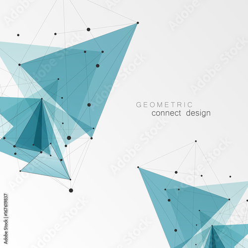 Geometric Triangle Vector Background. Triangles Connect Pattern for Business Presentations, Annual Report and Start Up Ideas Wall mural