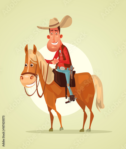 Happy smiling cowboy sheriff character ride horse Wallpaper Mural