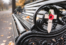 Poppy Appeal Remembrance Cross On Cast Iron Bench (Rememberance Day)