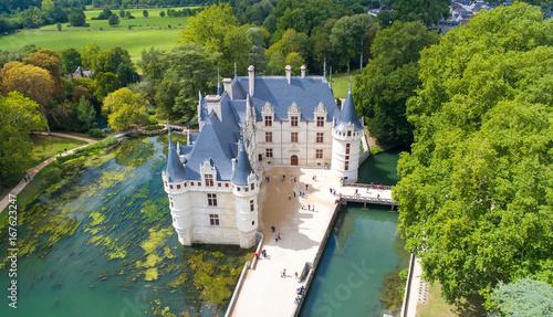 Papiers peints Con. ancienne Photographie aérienne du château d'Azay le Rideau