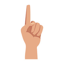 Hand First One Finger Pointing Up Style Vector Illustration
