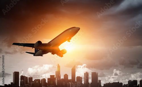 Fotomural  Airliner in sky. Mixed media