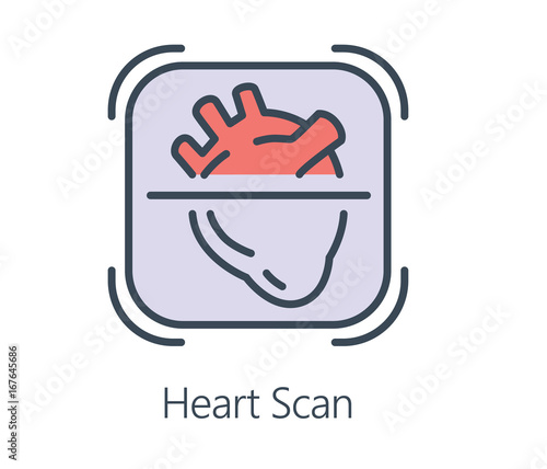 Icon Design Heart Scan In Flat Line Style Symbol About Health Check