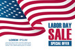 Labor Day Sale banner with waving american national flag. Special offer background for business, promotion and advertising. Vector illustration.