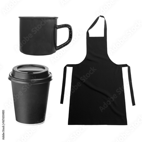Fototapety, obrazy: Black apron, with coffee cup, mug on white