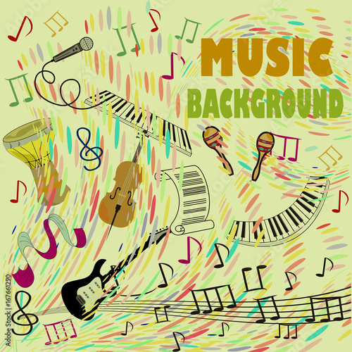 Printed kitchen splashbacks Concept of musical abstract background from doodle musical instruments and elements.