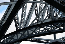 Low Angle View Of Steel Bridge...