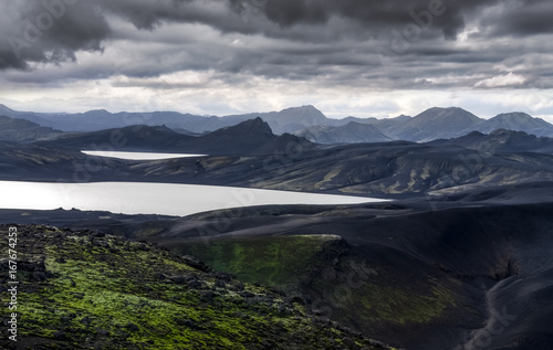Foto op Plexiglas Nachtblauw Volcanic landscape with mountains and lakes in Iceland