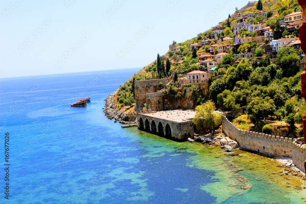 Fototapety, obrazy: View of the ancient shipyard from the Red Tower (Alanya, Turkey).