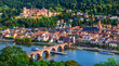 canvas print picture Landmarks and beautiful towns of Germany - medieval  Heidelberg ,view with Karl Theodor bridge and castle