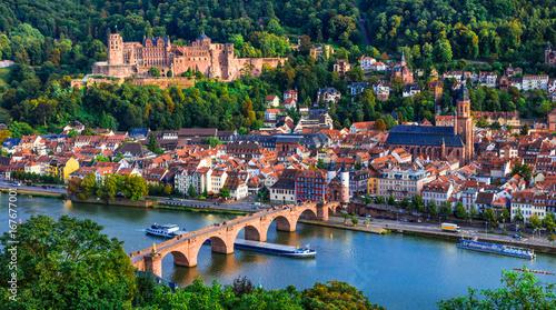 Landmarks and beautiful towns of Germany - medieval  Heidelberg ,view with Karl Wallpaper Mural