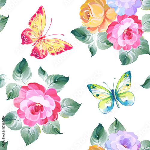 Tuinposter Vlinders Seamless pattern roses and butterflies. Watercolor painting. Vector illustration