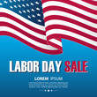 Labor Day Sale special offer background with waving american national flag. Vector illustration.