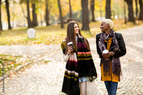 Foto  Two young pretty multiracial girlfriends at autumn day