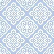 Vector Illustration Of White And Blue Damask Pattern