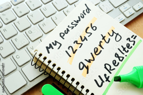 Fotomural Password management. Weak and strong password.