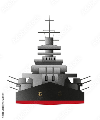 Photo Battleship icon, front, vector