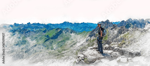 Fototapeta Panorama banner of a mountaineer on a summit obraz