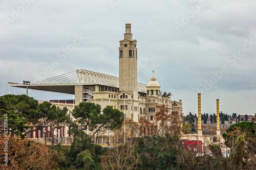 In de dag Stadion Barcelona Olimpic, modern sport complex, Spain. Estadi Olimpic de Montjuic. Catalonia