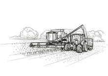 Combine Harvester And Tractor At Work On Field. Vector.