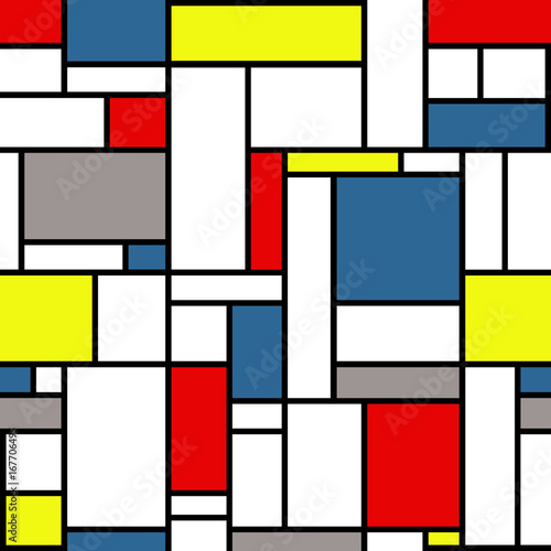 Piękne obrazy  mondrian-style-pattern-with-white-black-yellow-red-gray-and-blue-colors