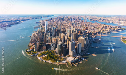 Aerial view of lower Manhattan New York City - 167710478
