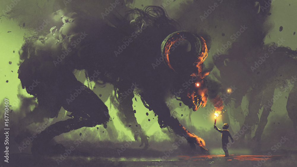 Fototapety, obrazy: dark fantasy concept showing the boy with a torch facing smoke monsters with demon's horns, digital art style, illustration painting